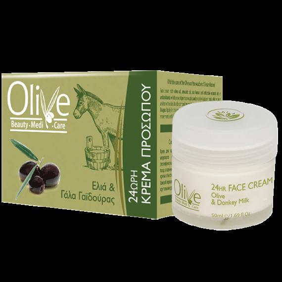 24 Stunden-Gesichtscreme mit Oliven und Eselsmilch
