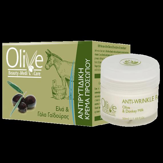Antifalten-Gesichtscreme mit Oliven und Eselsmilch
